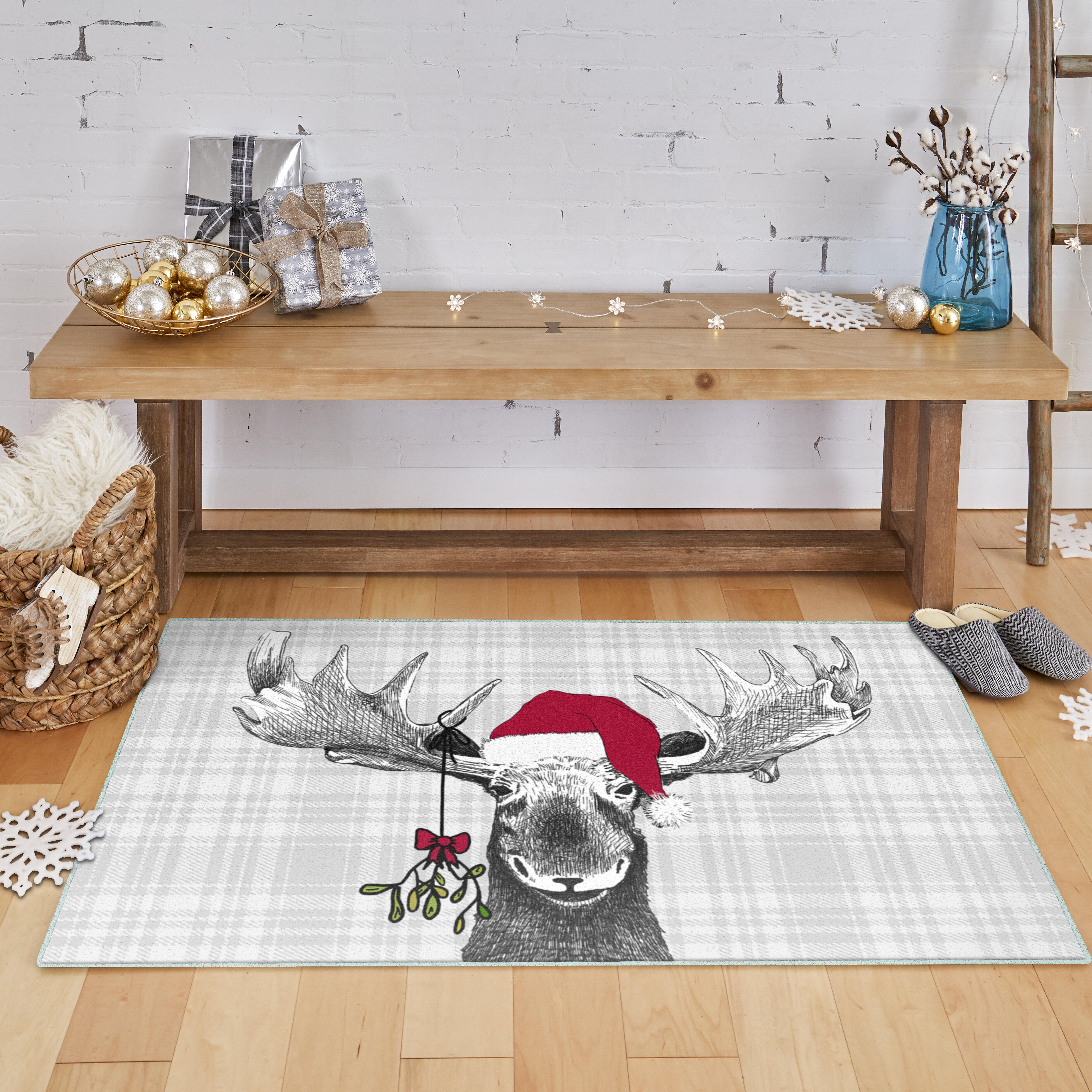 The Holiday Aisle Mohawk Triplett Holiday Moose Grey Precision Printed Area Rug 2 6 X3 6 Cloud Reviews Wayfair Ca