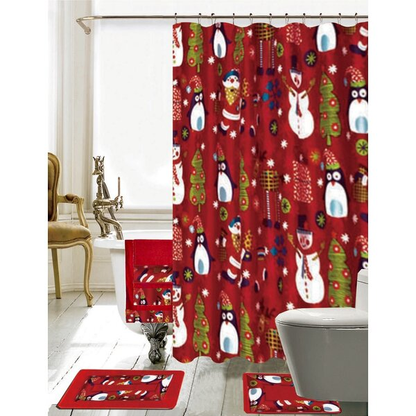 The Holiday Aisle Christmas Bathroom Decor 18 Piece Red Shower Curtain Set Reviews Wayfair