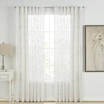 Andover Mills Safira Floral Flower Sheer Rod Pocket Single Curtain Panel Reviews Wayfair
