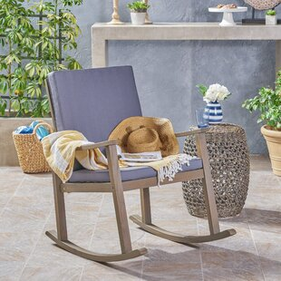 Gracie Oaks Arend Outdoor Rocking Chair with Cushions