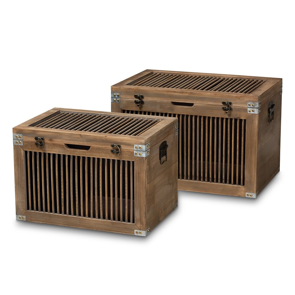 Millwood Pines Hinz 2 Piece Vintage Trunk Set Wayfair