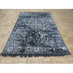 Purchase One-of-a-Kind Dusty Hand-Knotted 6' x 9'2 Wool/Silk Black/White Area Rug By Isabelline