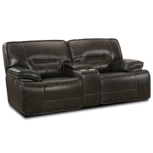 LYKE Home Power Console Glider Leather Reclining Sofa