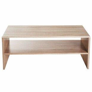 Pliner 2 Tier Simple Modern Indoor Storage Rectangular Living Room Coffee Table - Oak