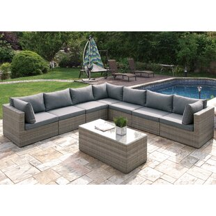 A&J Homes Studio 8 Piece Sectional Set with Cushions