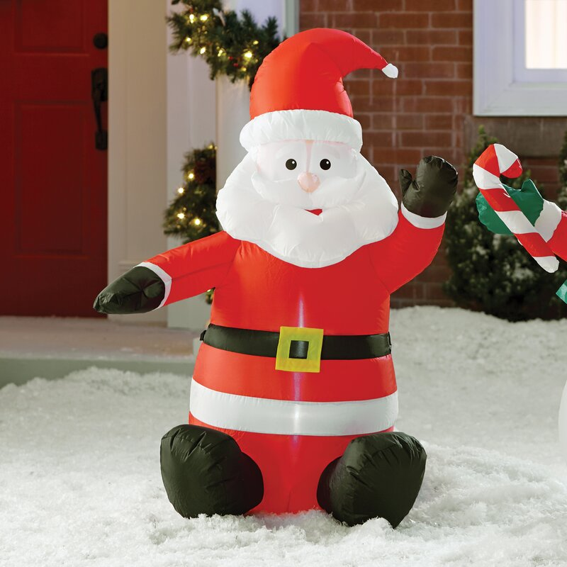 The holiday aisle inflatable santa claus decoration for Christmas cat yard decorations