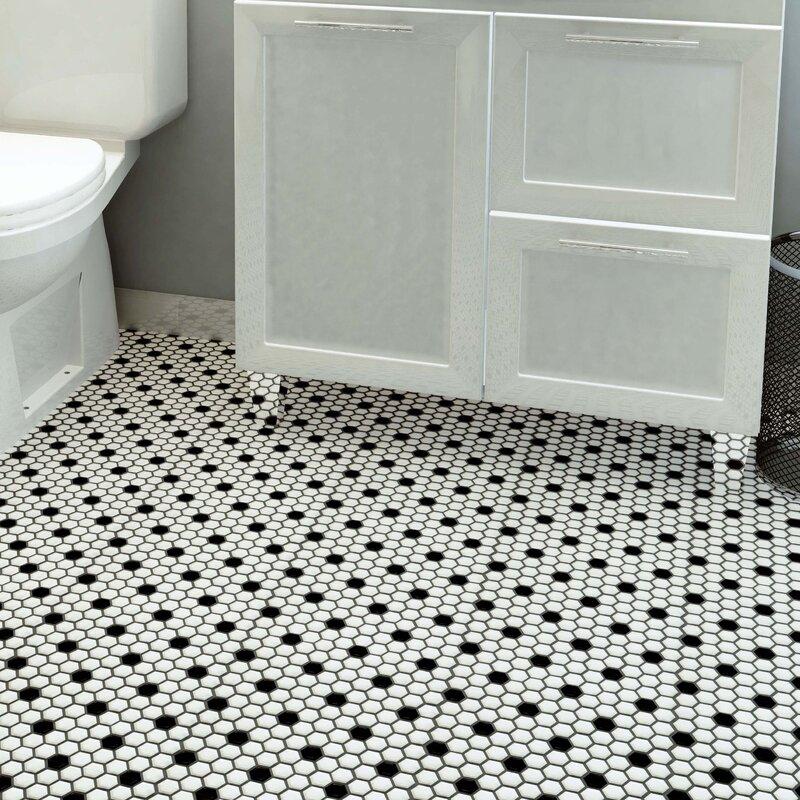 Elitetile Retro 0 88 X 0 88 Porcelain Mosaic Tile In Matte White