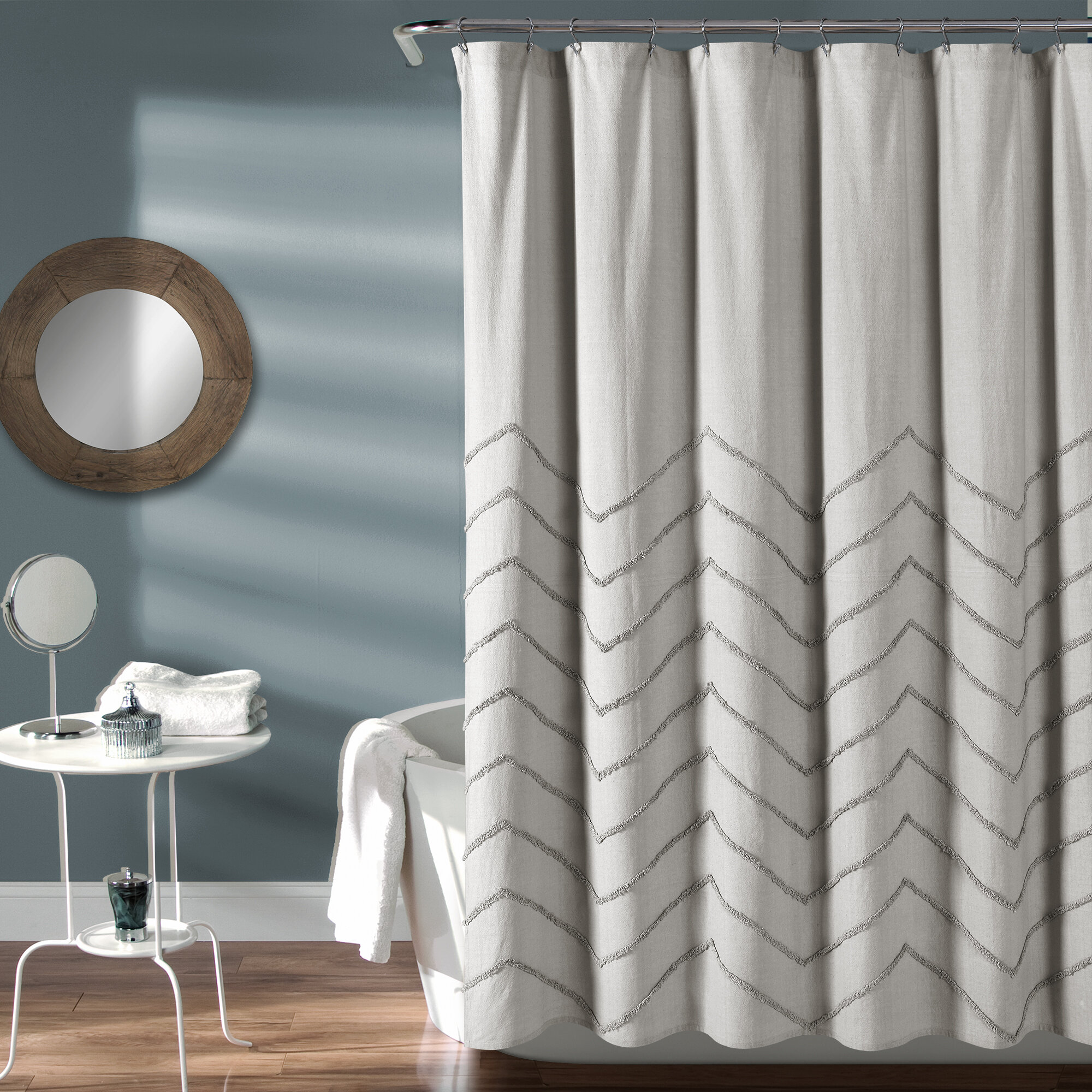 Maya Chenille Chevron 100 Cotton Shower Curtain