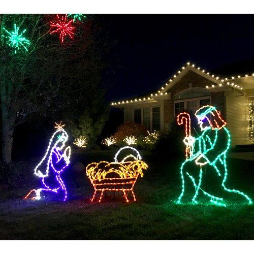 Outdoor Nativity Set 533 String Lights