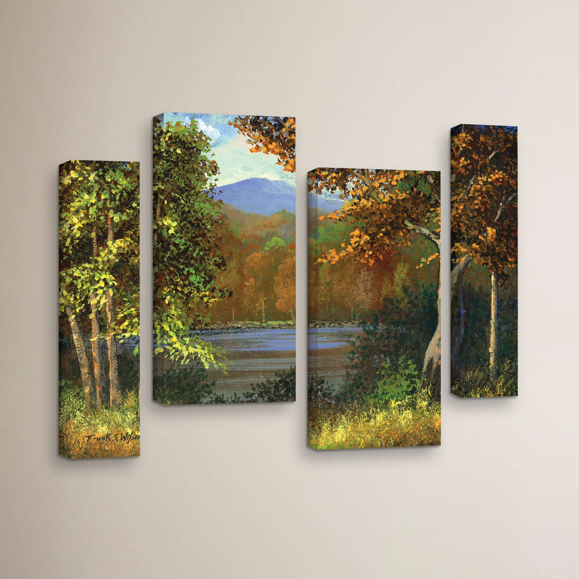 """Painting Giclee Canvas Signed 16/""""x20/"""" with mat frame FOREST RIVER Pond Lake"""