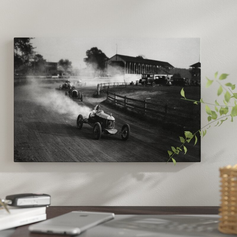 aee410c5 East Urban Home '1930s Auto Race on Dirt Track with Cars Going Around Turn  Kicking Up Dust' Photographic Print on Wrapped Canvas | Wayfair.ca