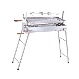 ALEKO Foldable Stainless Steel Charcoal with Roasting Bar