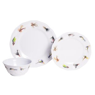 Timmons Fishing Flies Melamine 12 Piece Dinnerware Set, Service for 4