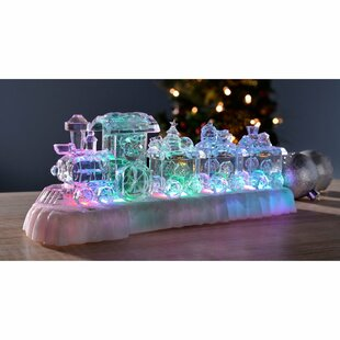 Acrylic Pre-Lit Colour-Changing LED Musical Christmas Train Scene By The Seasonal Aisle