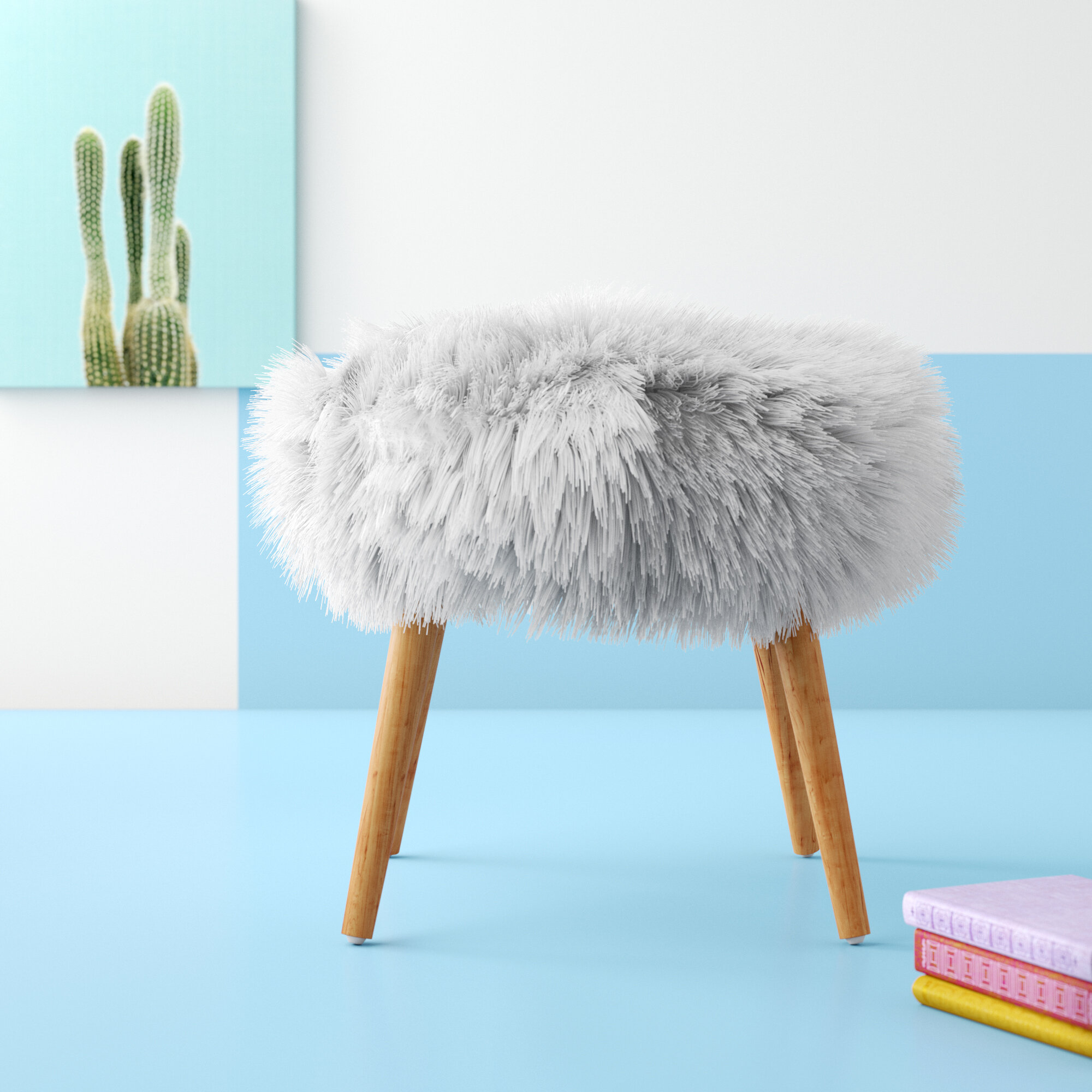 Image of: Hashtag Home Hovland Faux Fur Vanity Stool Reviews Wayfair