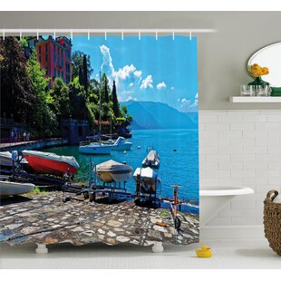 Beal Boats European Sea Town Single Shower Curtain