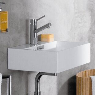 Best Quarelo Ceramic 17 Wall Mount Bathroom Sink with Overflow ByWS Bath Collections