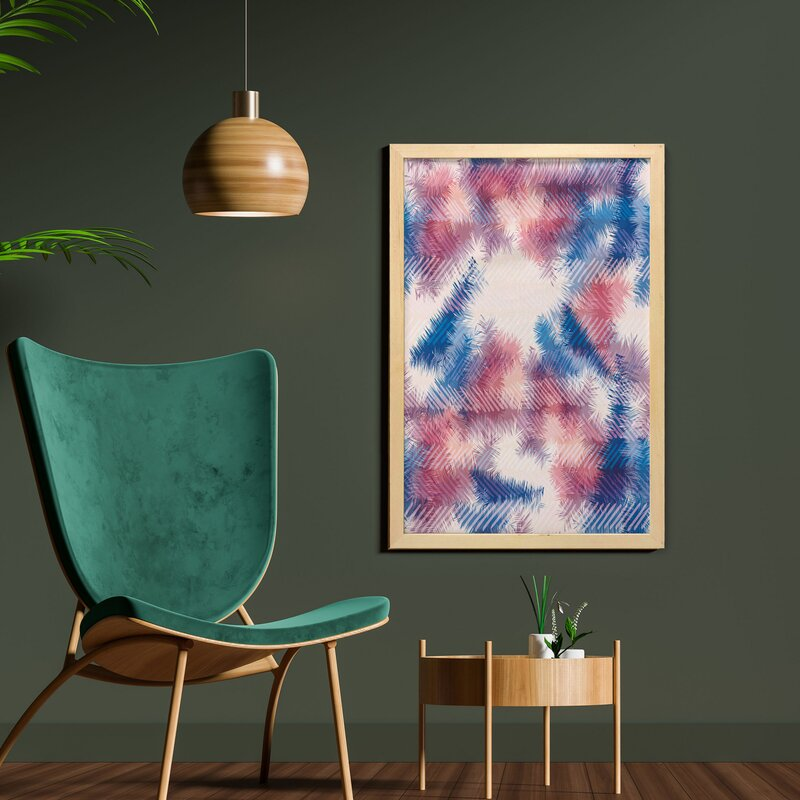 Boho Style Digital Tie Dye Effect Graphic With Soft Feather Patterns Tribal