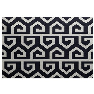 Frankie Geometric Print Navy Blue Indoor/Outdoor Area Rug