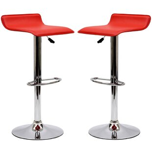 Steuben Adjustable Height Swivel Bar Stool (Set of 2) Wade Logan