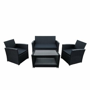 Lipari 4 Piece Rattan Sofa Set with Cushions