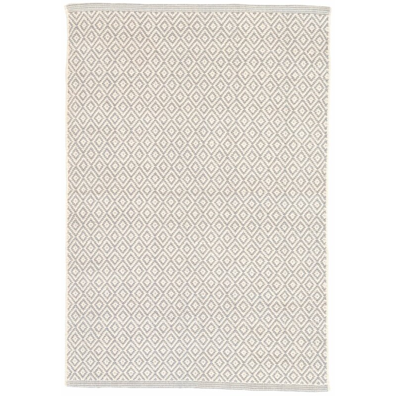 Geometric Cotton Dove Gray Area Rug