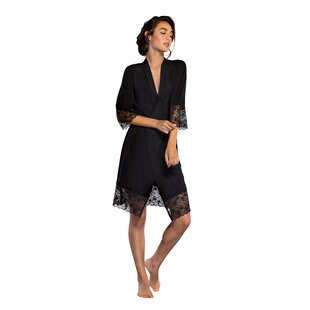 Lightweight Super Soft Lace Trim Rayon from Bamboo Jersey Bathrobe
