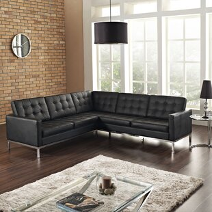 Gayatri Leather Sectional by Orren Ellis Best Choices