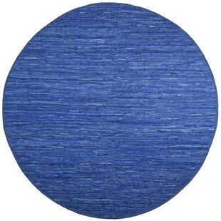 Sandford Flatweave Leather/Cotton Blue/White Area Rug by Latitude Run