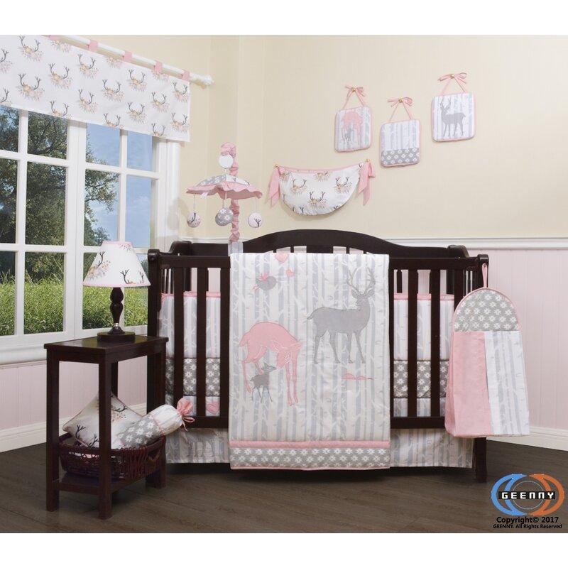 45e73f5691762 Risinger Baby Girl Deer Family Nursery 13 Piece Crib Bedding Set
