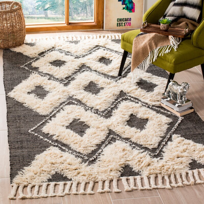 Treyton Geometric Hand Knotted Wool Cotton Black Ivory Area Rug Reviews Joss Main