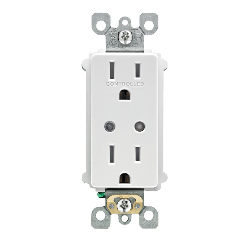 Leviton decora smart 15 amp tamper resistant split duplex receptacle decora smart 15 amp tamper resistant split duplex receptacle wall mounted outlet with z wave publicscrutiny Image collections