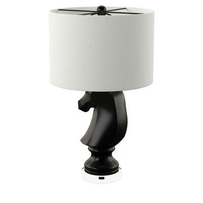 Trule Teen Heckson 28 Table Lamp Base Color: Gloss Black, Shade Color: White, Bulb: 1 x 9.5W Medium Base LED, 800 Lumens Bulb