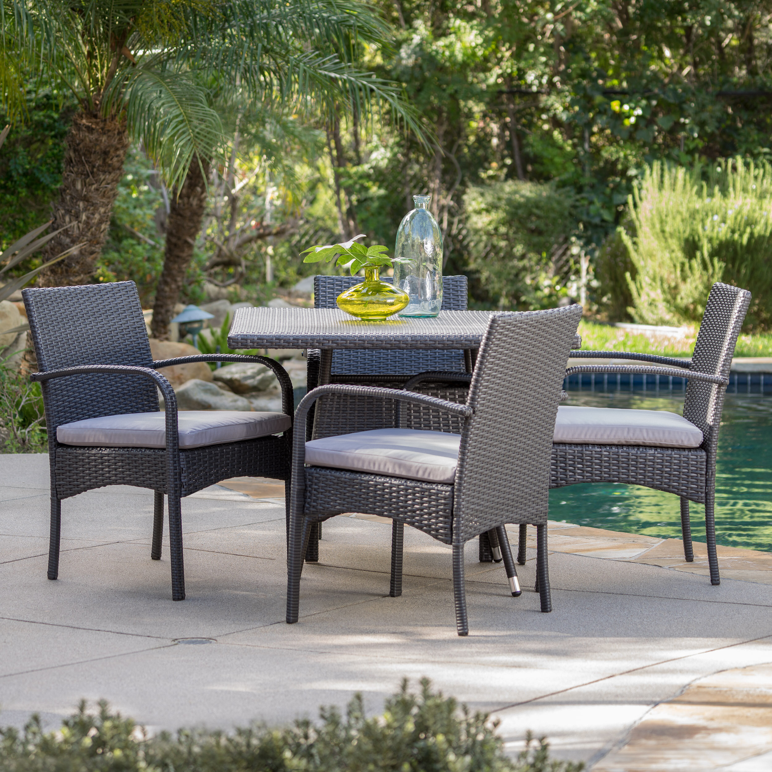Bay isle home mathiatis 5 piece dining set with cushions reviews wayfair