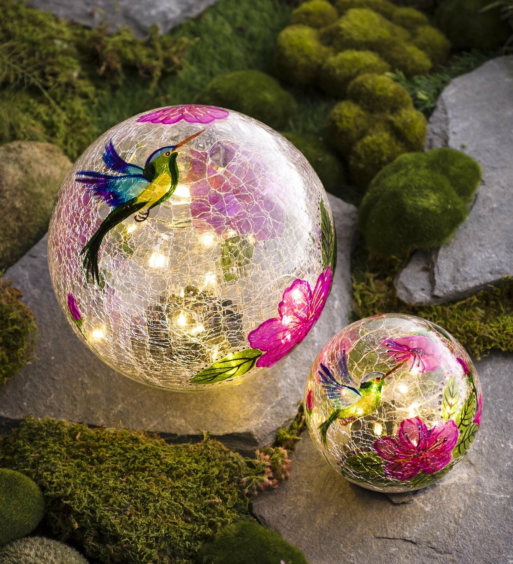 Hummingbird le 2 Piece Gazing Ball Set on