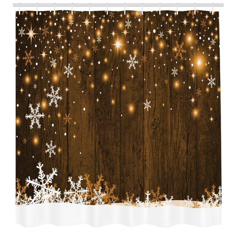Loon Peak Bonanno Wood And Snowflakes Single Shower Curtain Reviews Wayfair