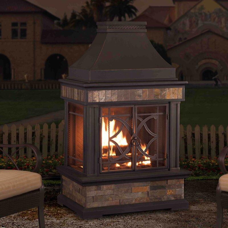 Sunjoy Heirloom Steel Wood Burning Outdoor Fireplace ...