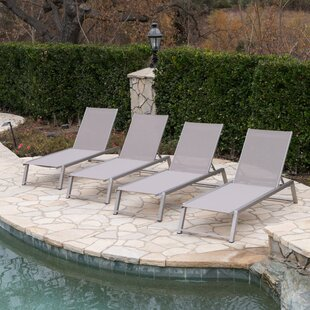 Orren Ellis Ipock Reclining Chaise Lounge (Set of 4)
