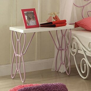 Ceasar Wood and Metal Butterfly Design Nightstand by Zoomie Kids