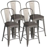 Nicky Solid Wood 24.3 Counter Stool (Set of 4) by Williston Forge