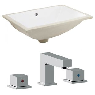 Find a Ceramic Rectangular Undermount Bathroom Sink with Faucet and Overflow ByAmerican Imaginations