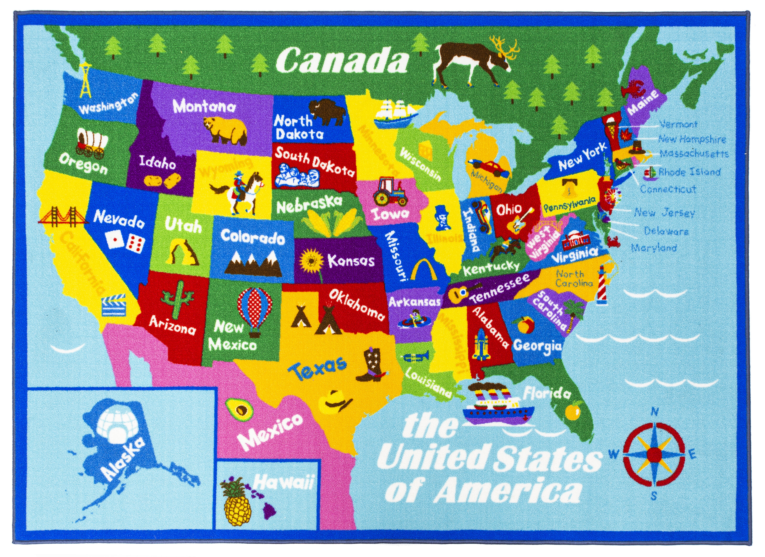 Zoomie Kids Swanigan Educational Usa States Map Princess World