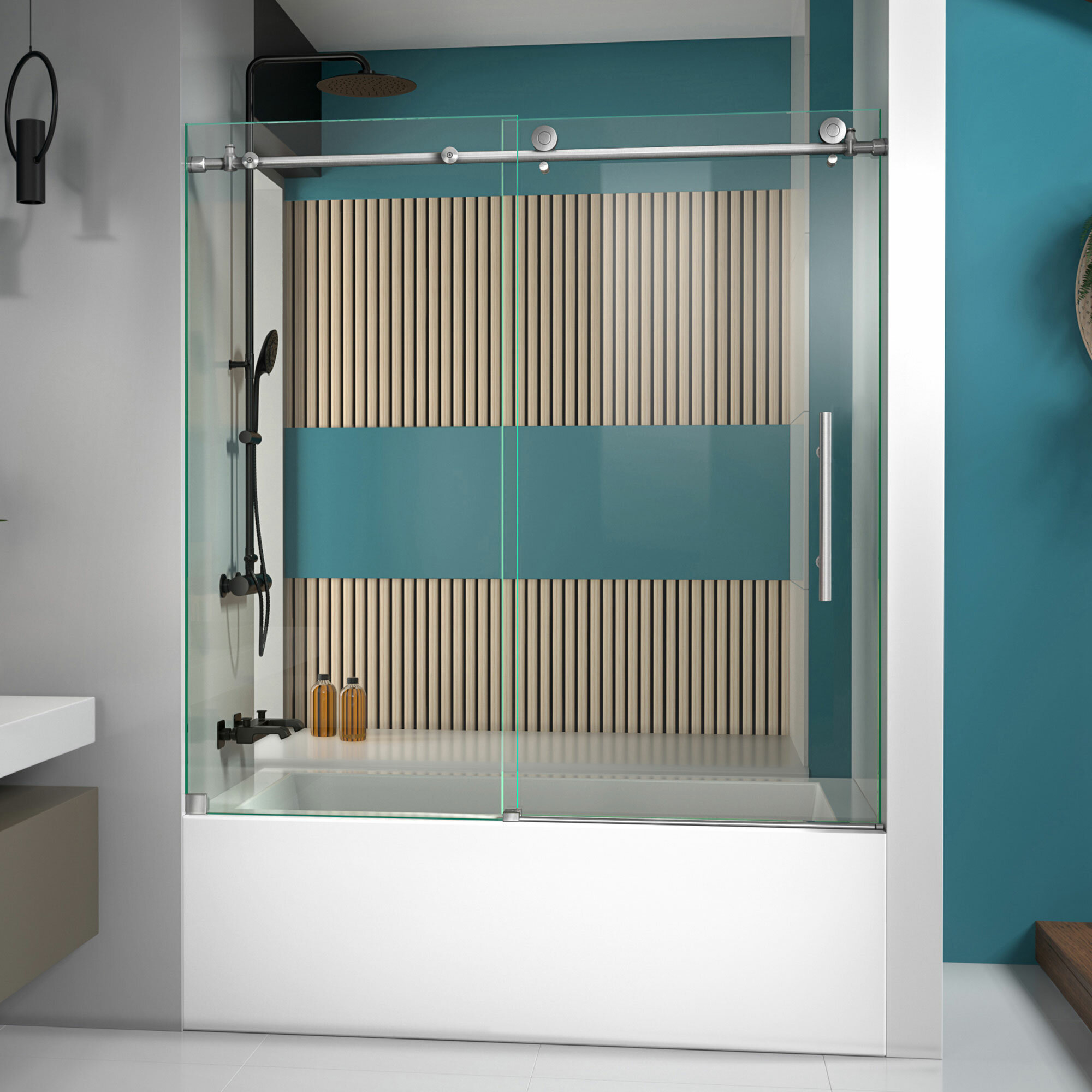 Enigma X 59 X 62 Single Sliding Frameless Tub Door With Clearmax Technology