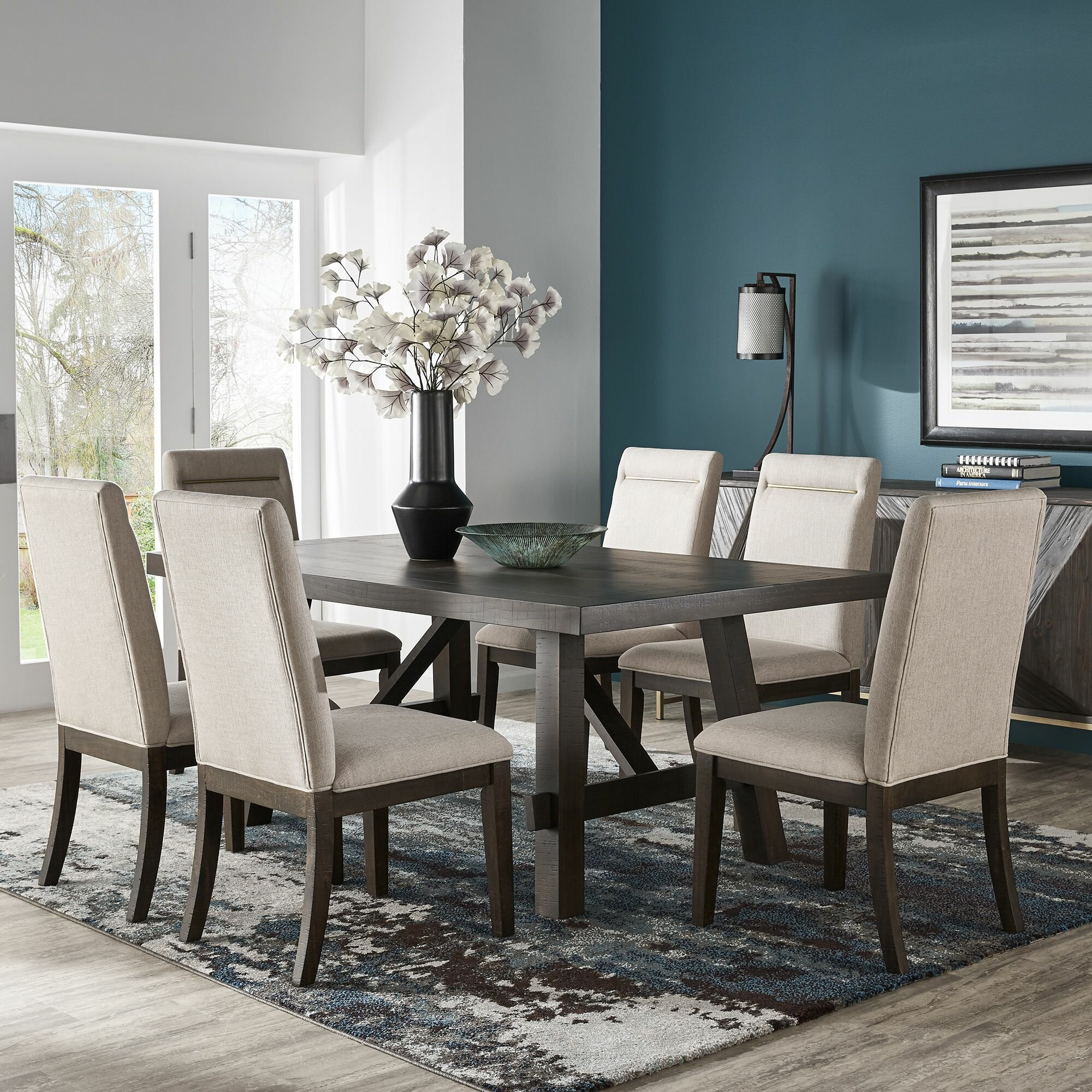 Gracie Oaks Labbe 7 Piece Dining Table