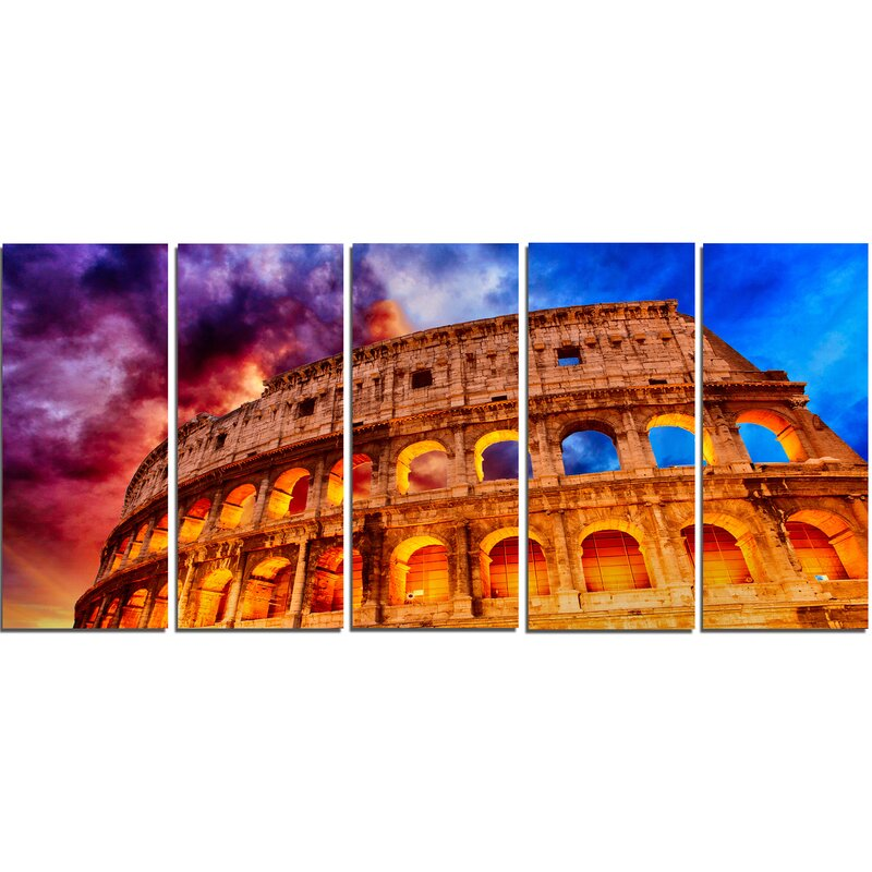 DesignArt Colosseum Rome Italy 5 Piece Wall Art on Wrapped Canvas ...