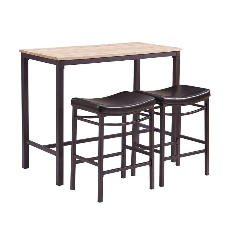 Bezons 3 Piece Pub Table Set