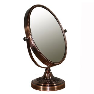 Darby Home Co Oval Brown Magnify Mirror