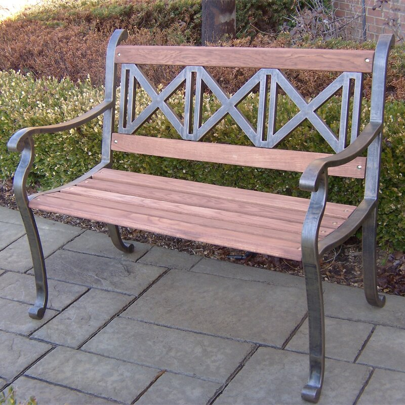 Oakland Living Triple Cross Wood and Metal Park Bench & Reviews ...