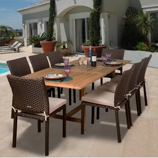 Beachcrest Home Arango 9 Piece Teak Dining Set with Cushions