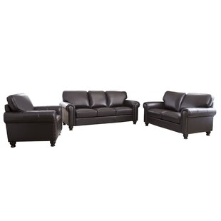 Coggins 3 Piece Leather Living Room Set by DarHome Co